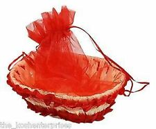 Kosh Decorative Handmade Gift Basket with Net cover - Red
