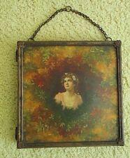 Antique Tri-Fold Wall 3 Panel Mirror Makeup Vanity Shaving Travel Table