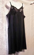 Black Vassarette Nylon Full-Slip w/Beautiful Lace! Totally Glamorous! Sz. 44