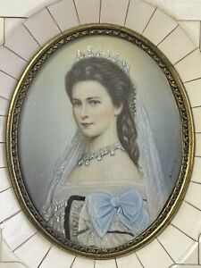 Fine Antique Signed Miniature Portrait Oil Painting Empress Elisabeth Of Austria