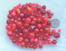 80g Red Mixed Bead Lot 4 - 12mm Crystals Pearls Silver Foil Glass