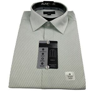 Alfani Mens Slim Fit Stretch Striped Cube Dress Shirt Mint White 15-15.5 34-35