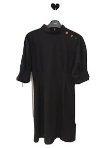 Stunning LIPSY Black High Neck Dress With Gold Buttons. 10 Elegant Sleeve Detail