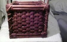 """VINTAGE """"HANDCRAFTED"""" BAMBOO CRATE"""