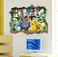 NEW 3D Pokemon Pikachu Friends Removable Wall Stickers Decal Kids Home Decor USA