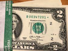 2013 Two Dollar Star Note US Federal Reserve $2 Bill UNC Crisp PLUS PLASIC SLEEV