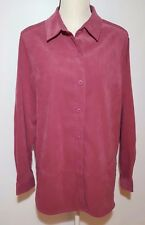 Croft & Barrow Stretch Womens Button Down Jacket Shirt Dark Pink Long Sleeve L