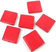 6 Wood Flat Square Beads 30mm - Red