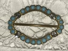 Elegant Oval Buckle With Turquoise And Paste Stones