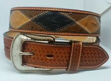 3-D Belt Co. Men's Brown Ostrich Patchwork Belt Style- 8853 38