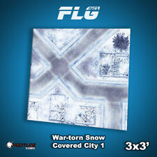 FLG Mats: War-Torn Snow City 1 3x3 High Quality Neoprene Tabletop Gaming Mat