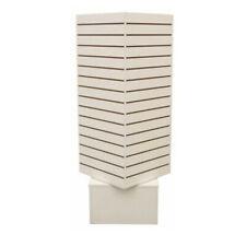 White 20x20x54 Revolving Slatwall Floor Display Rotating Cube Tower