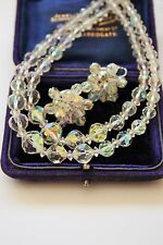VINTAGE JEWELCRAFTS CRYSTAL NECKLACE AND EARRINGS - VTG WEDDING / BRIDAL / PROM