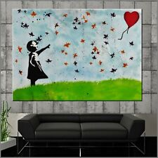 Banksy Respray Field Balloon Girl Street Art Textured Painting 160cm x 100cm
