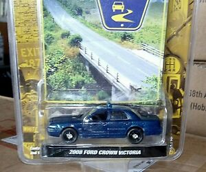 Greenlight 1/64 2008 Ford Crown Victoria vic police custom blue