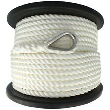 14mm x 100M Nylon Anchor Rope 3 Strand White Great for Windlass Super Strong
