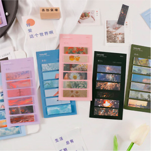 Aesthetic 90 pcs Sticky Note Tabs Bookmarks Cute Scenery Sticker Stationary Gift