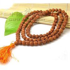 "108 6X5mm Rudraksha Bodhi Seeds Prayer Beads Mala Necklace 23"" w Golden Tassel"