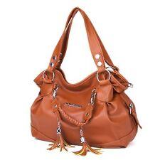 Women PU Leather Shoulder Bag Handbag Lady Tote Purse Messenger Crossbody Brown