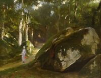 19th Century French Impressionist Lady Forest Landscape Antique Oil Painting