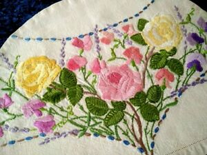 Spectacular 'Fairistytch' Roses/Sweetpeas/Lavender Hand Embroidered TeaPot Cover