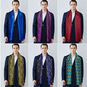 Mens Scarf Designer Scarves Silk Paisley Blue Red Shawl Wrap