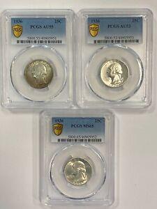 1936 25C SILVER WASHINGTON PCGS MS65 AU55/53  *3 COINS