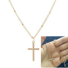 Women's Simple Small Tiny Cross Pendant Necklace Gold Silver Clavicle Chain Gift