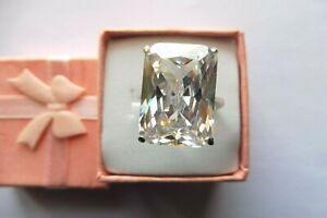 Bague superbe Cristal de Roche-réglable 18x13x7mm-22.Cts-Surélevée-Argent massif
