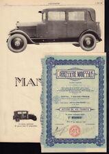 Carrosserie Manessius Paris France French Coachbuilder + original vintage ad