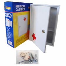 First Aid Medical Cabinet Wall Mount Case Stainless Steel Lockable Safe Box