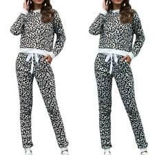 Women Leopard Print Tracksuits Sweatshirt Jogger Trousers Sports Set Lounge Wear