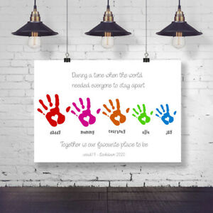 LOCKDOWN PERSONALISED INSPRIATIONAL FAMILY HAND PRINT RAINBOW
