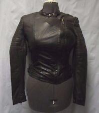 MUUBAA Free People Abila Chocolate Brown Leather Moto Jacket Size 8 $625 S/O New