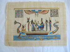"""Egyptian Paper Painting Queen Nefertari Feasting On Papyrus Boat 9""""X13"""""""