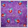 BonEful Fabric FQ Cotton Disney Little Mermaid Purple Flower Girl Princess Ariel