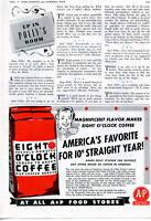 "1942 A&P Eight O'Clock Coffee ""America's Favorite"" Vintage Print Ad"