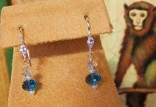SS LONDON BLUE TOPAZ & AQUAMARINE EARRINGS NEW 6.1CTW WITH MARQUIS FINDINGS