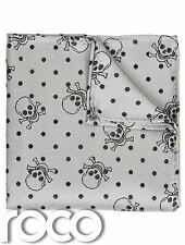 Skull Print Hanky, Boys Accessories, Skull Hanky, Grey Accessories For Boys