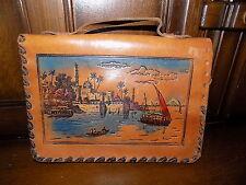 Magnifique Vintage avec outils en cuir embrayage sac sac de soirée Egyptian Scene 40 s 50 s