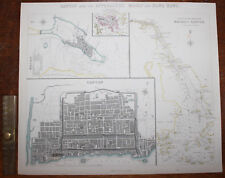 1853 Canton & Its Approaches Macao HONG KONG Original Antique MAP Knight