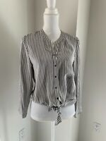 Joie Gray & Ivory Stripe Silk Tie Front Blouse Top SZ S