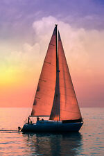 BEAUTIFUL SAILBOAT SUNSET CANVAS PICTURE #256 STUNNING PHOTOGRAPHY A1 CANVAS