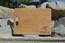WOODEN Cutting Board Engraved Personalized Initial BAMBOO Cutting Board