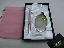 Mikimoto Lip Brush and Handy Cosmetic Mirror with Pouch Pink NEW Auth!