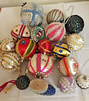 18 Vintage Sequin Push Pin,Velvet,WSanta Handmade Decorated Christmas Ornaments