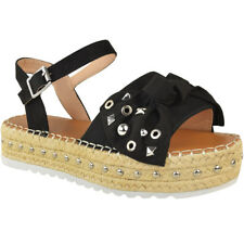 Womens Ladies Flatforms Espadrilles Summer Sandals Strappy Embellished Shoe Size