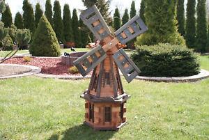 Grand moulin à vent en bois pour jardin 100 cm - 235 cm Moulins à vent en bois