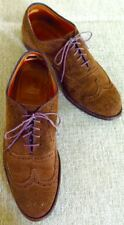 MEN'S ALDEN NEW ENGLAND BROWN SUEDE WING TIPS LACE UP  SIZE 8 B/D $225.00