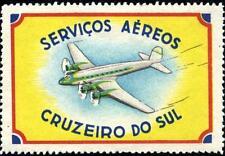 Serviços Aéreos Cruzeiro do Sul ~BRAZIL~ Beautiful Advertising Poster Stamp 1955